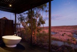 The outdoor bath at El Questro Homestead in The Kimberley