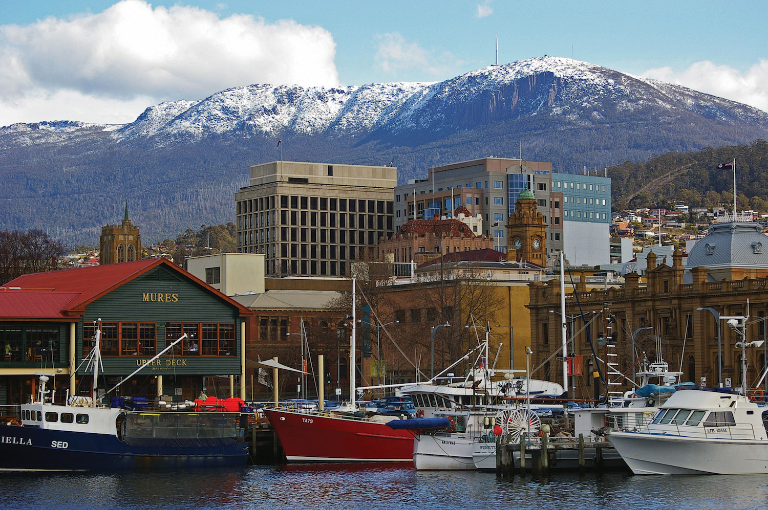 Snow on Mount Wellington behind Hobart