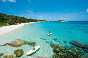 SUP boarding at Lizard Island Great Barrier Reef Beach