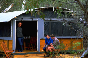 Maria Island walk - The Dining Hut, with a well earned bottle of red waiting on the table...