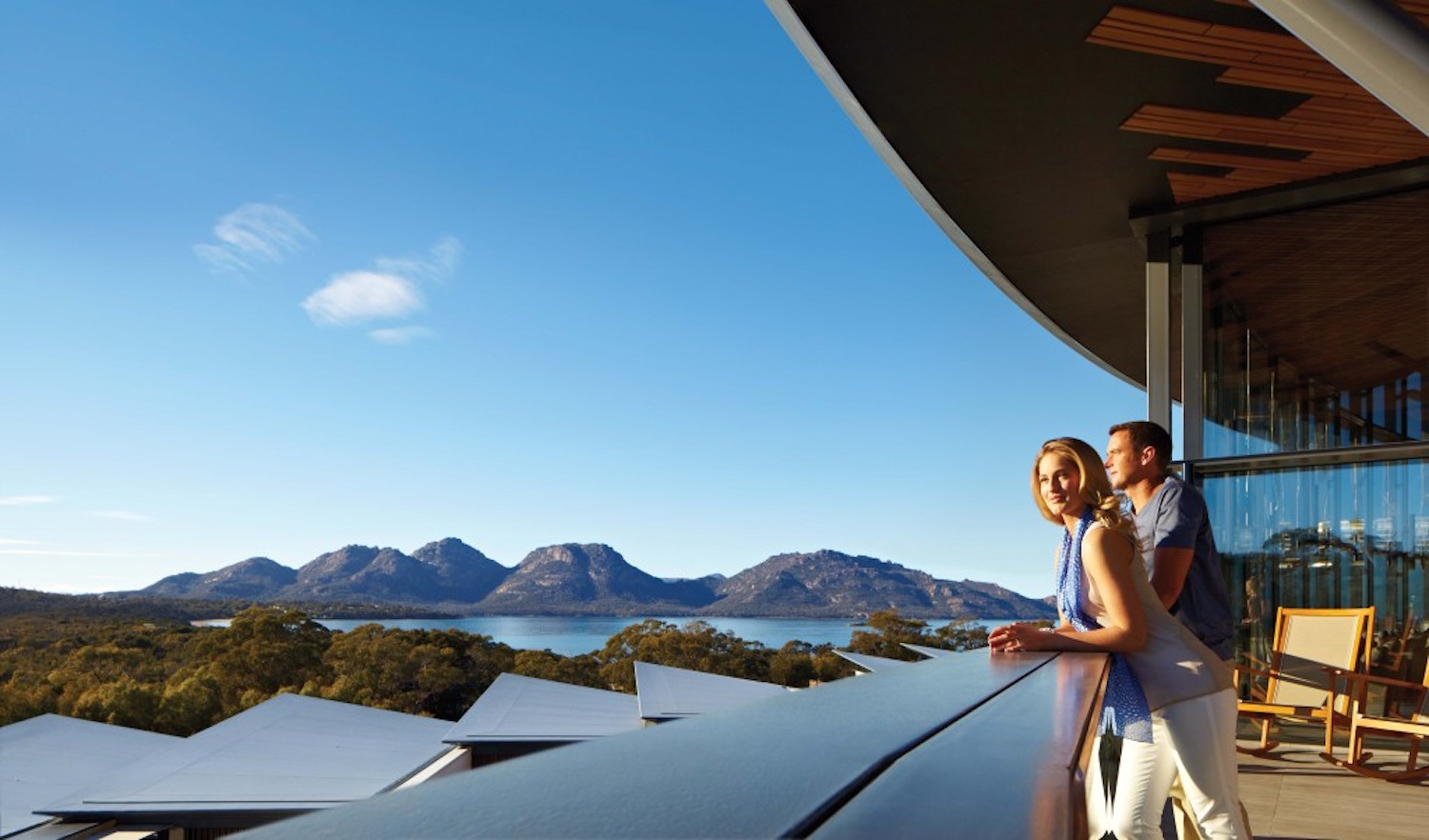 Looking out over Wineglass bay from Safire Lodge, Freycinet in Tasmania