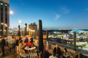 Rooftop dining at 2KW Bar and Restaurant, Adelaide