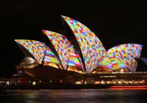 The Sydney Opera House lit up at Viviid Sydney