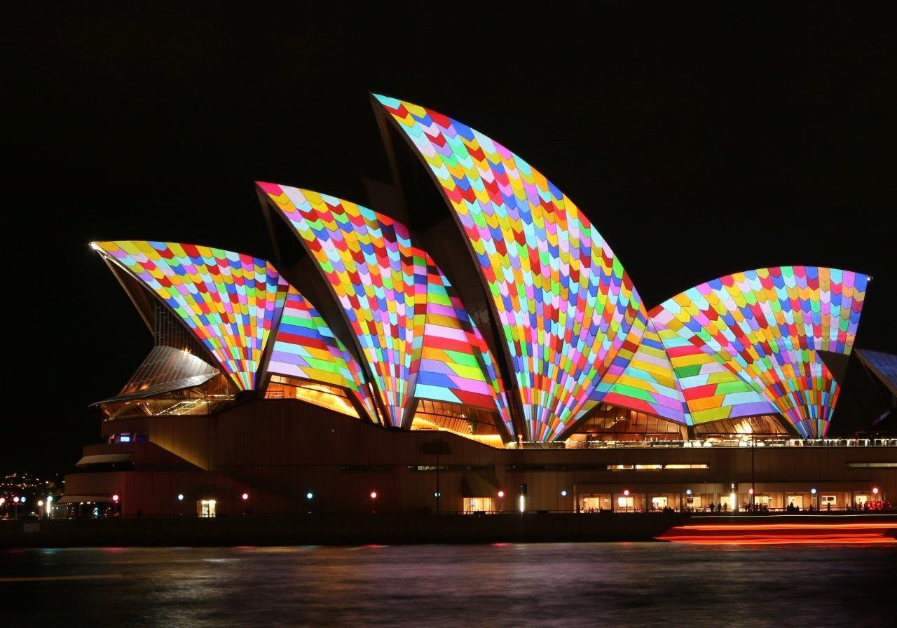 The Sydney Opera House lit up at Vivid Sydney