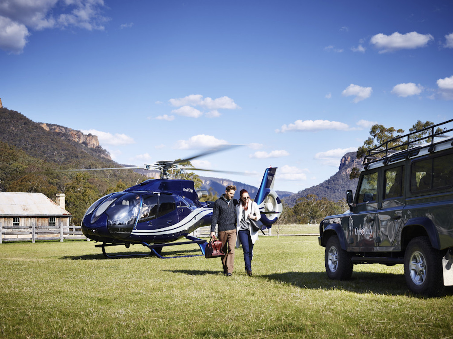 Arrive by helicopter to Emirates One&Only Wolgan Valley in the Blue Mountains