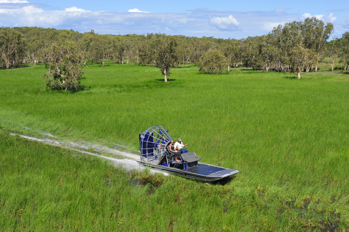 At Bamurru Plains guests can airboat over the Mary River Flood Plains