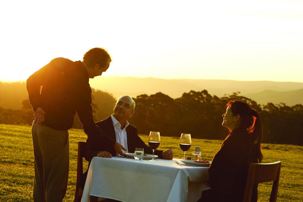 Enjoy a sunset and al fresco dining at Spicers Peak Lodge