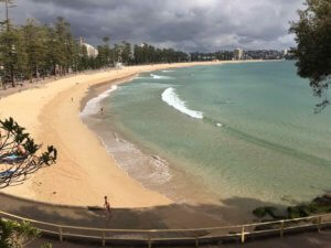 Even wth grey cloudy skies, a swim at Manly beach looks appealing!